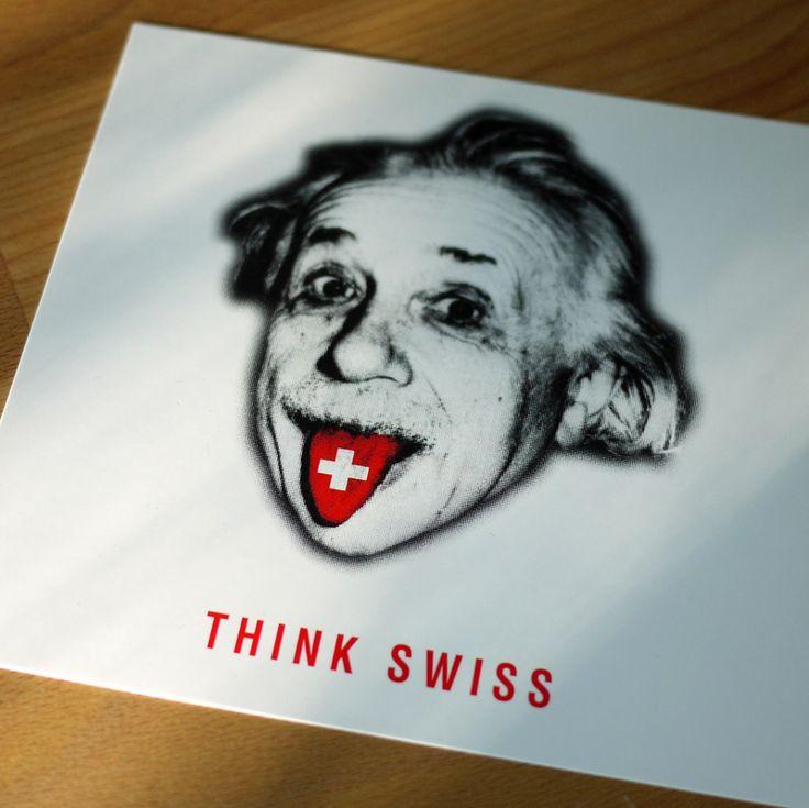 """""""Think Swiss"""" postcard featuring Albert Einstein"""