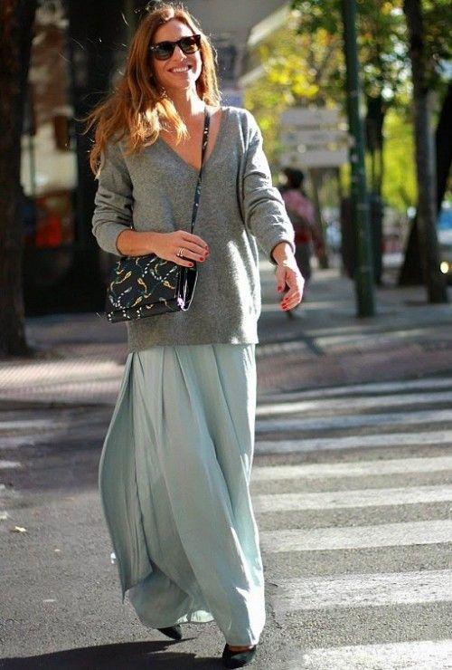 длинная серая юбка, серый джемпер на весну, стиль 70-х, стильный образ на каждый день, модные тренды 2015 года, уличная мода весна лето, street style, MsKnitwear, Knitwear (фото 3)