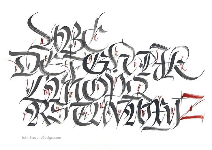 Spontaneously written brush fraktur letters.  John Stevens