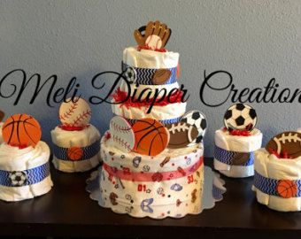 Sports Diaper Cake baseball soccer by bearbottomdiapercakes