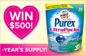 Enter to WIN a $500 shoping spree and a year supply of Purex UltraPacks laundry detergent!