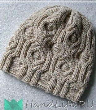 Узор для шапочки спицами / Вязание