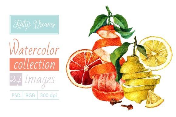 Watercolor set-Lemons and oranges by Mikheeva Ekaterina on Creative Market