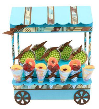 Despachador de dulces. Manualidades para barra de dulces azul