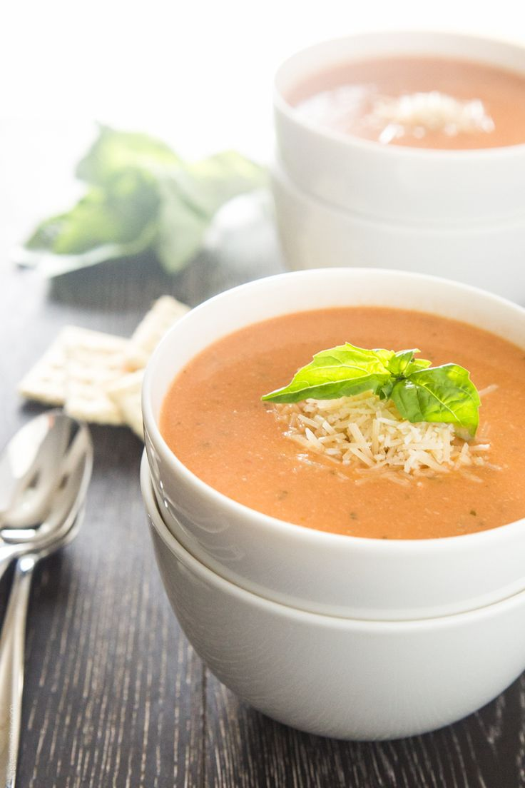 Creamy Tomato Basil Soup with Parmesan - and maybe throw in some cheese tortellini . . . yum!