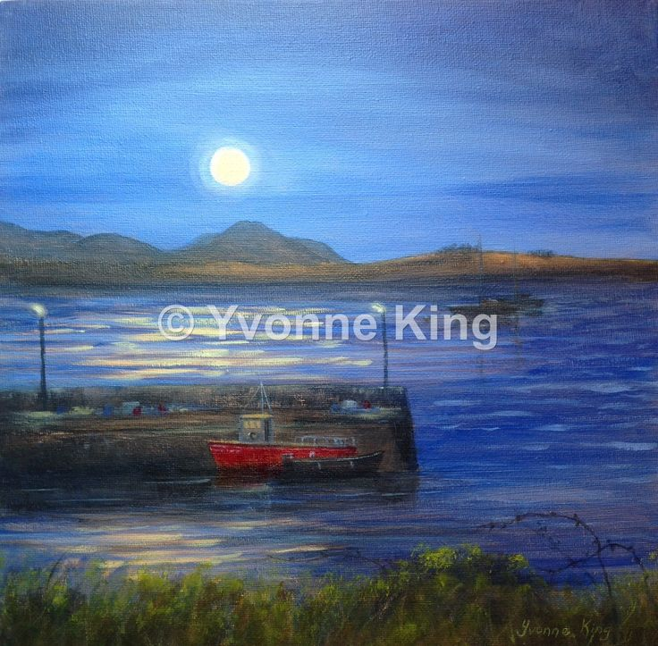 "WAW1-2015-Yvonne-King-Seascape-Harbour-""Full Moon over Roundstone Harbour""-11.5""x11.5"" A full moon over Roundstone Harbour in Connemara is a beautiful sight and I had to paint it! The Twelve Bens Mountains form a majestic backdrop with Inishnee Island and Bertraghboy Bay bathed in bright moonlight. Fishing boats are moored by the quayside. Roundstone looking good!"