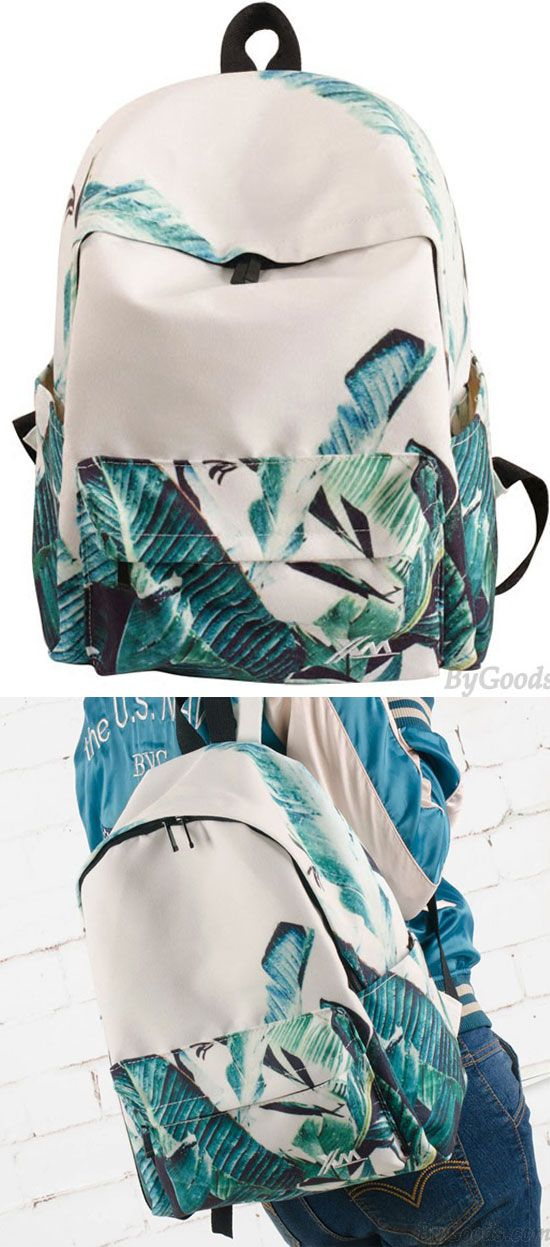 Unique Green Banana Leaves Large Capacity Canvas School Backpack is a good choice for new school day! #backpack #bag #rucksack #school #college #girl #student