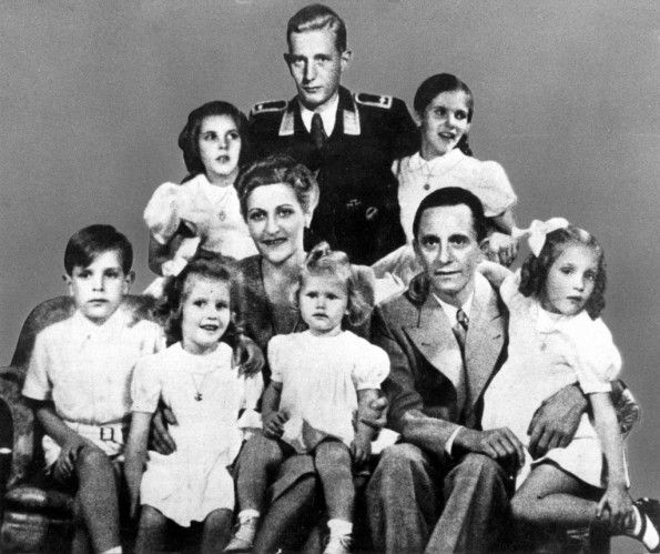 The Goebbels family in 1942: (back row) Hildegard, Harald Quandt, Helga; (front row) Helmut, Hedwig, Magda, Heidrun, Joseph and Holdine. (In this well-known specimen of manipulated image work, the visage of the uniformed Harald, who was actually away on military duties, was inserted and retouched.) Only Harald, Magda Goebbels son from her first marriage, would survive the war.