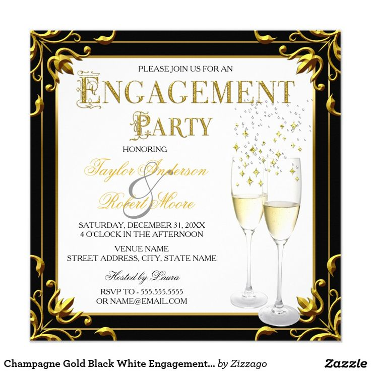Champagne Gold Black White Engagement Party Photo Card