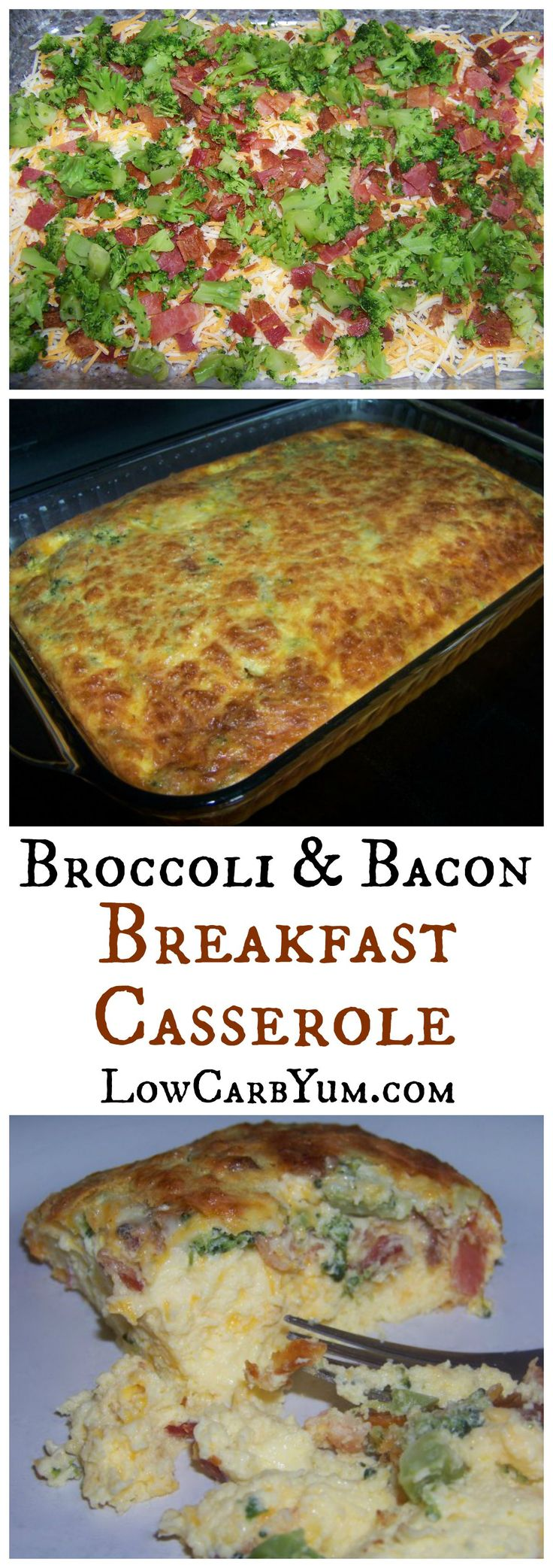 A low carb breakfast casserole with broccoli, bacon, egg, and cheese. Keto, LCHF, Banting recipe.