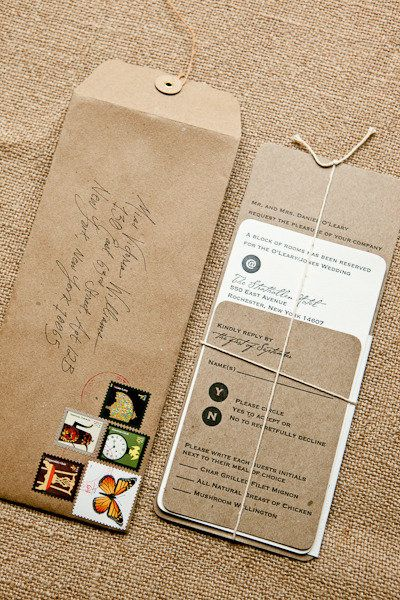 I love this for many reasons. The multiple varied stamps, handwritten address, the long recycled brown envelopes, and the twine tied invitations.