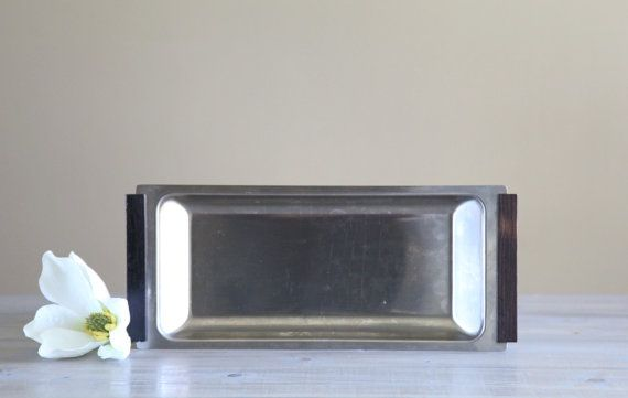 Vintage Stainless Danish Modern Platter with by SorghumSalvage