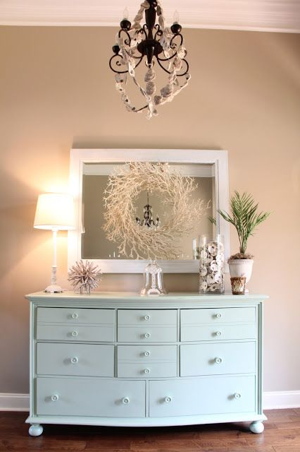 love this painted chest with the taupe walls and white trim. I have the perfect chest and mirror for this project and I was thinking of getting rid of them.