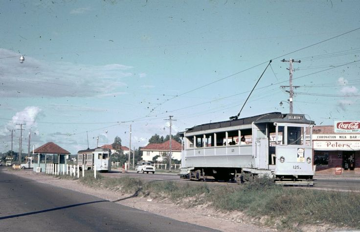 Old Dreadnought tram heads out to the Belmont terminus while in the background an FM is heading for the City. Over 40 years later, about 500 metres of these two sets of tram lines are still visible on Old Cleveland Road. They are the only such lines and the suburb is now called Carina.