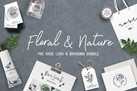 Floral logo and branding bundle by Negative Space on @creativemarket https://crmrkt.com/aVlGKK