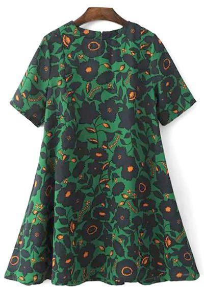 A-Line Printed Short Sleeve Dress