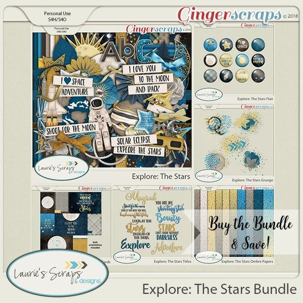 Explore: The Stars Digital Scrapbook Bundle! This is the perfect kit for photo of the last Solar Eclipse, photos of the brilliant moon, or photos of the family members you love to the moon and back. This kit is so versitile that you can use it for many differnt space adventures!