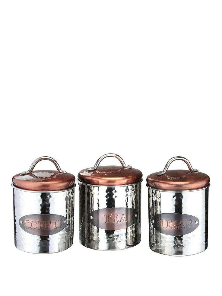 the New copper and stainless steel range of kitchen storage is stylish and functiional. The set of 3 containes a tea,coffee and sugar canister and they measure 15cmx10cm.Depth: 97 MMHeight: 143 MMMaterial Content: stainless steelWidth: 97 MM