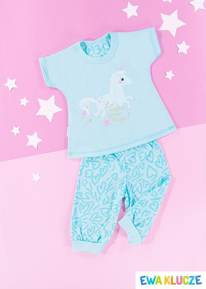 EWA KLUCZE, turkusowa piżamka z krótkim rękawem COMICS, ubranka dla dzieci, EWA KLUCZE, COMICS pijamas, baby clothes, Детская одежда
