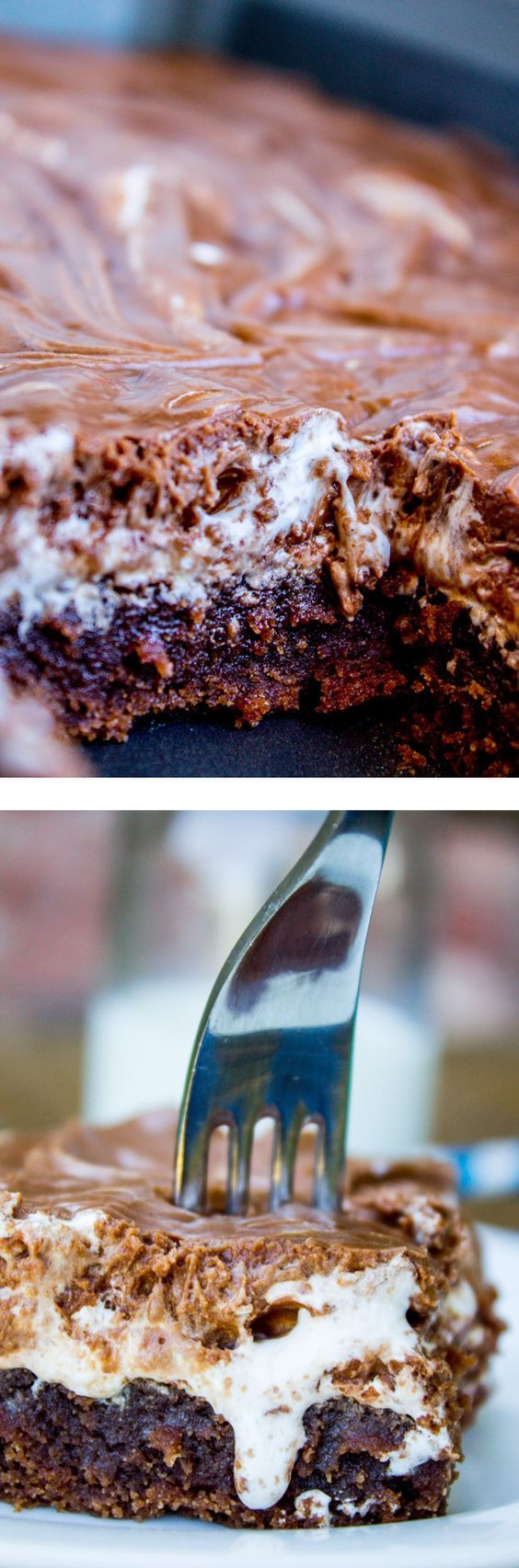 A classic recipe for Mississippi Mud Cake! From The Food Charlatan. It's a moist chocolate sheet cake with marshmallow creme and chocolate frosting on top.