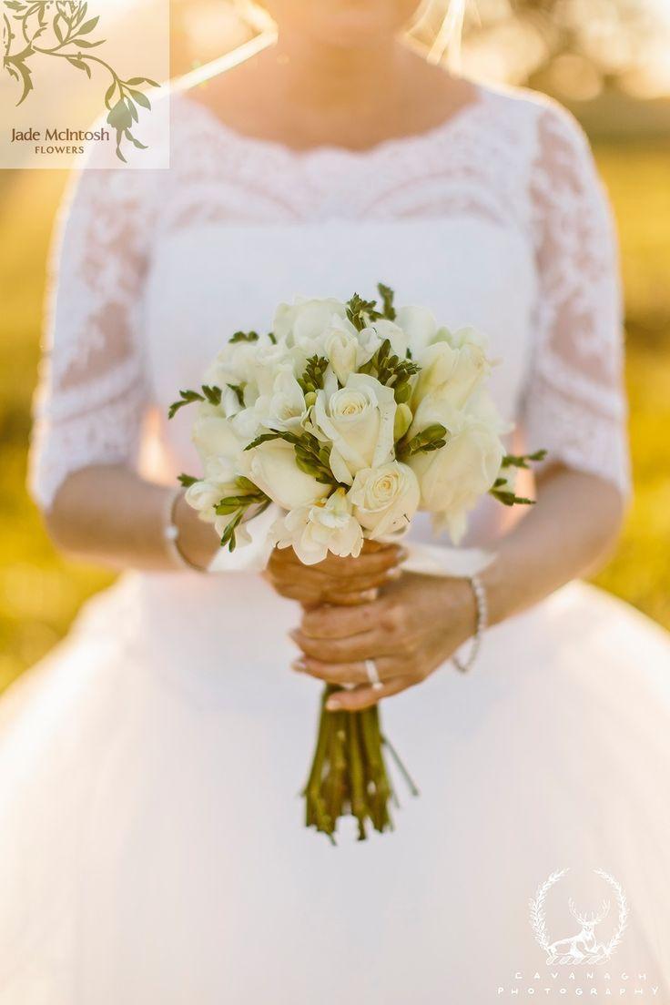 Beautiful bouquet in tones of white, cream & green.  www.jademcintoshflowers.com.au http://www.cavanaghphotography.com