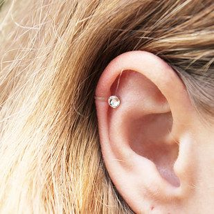 This clear cartilage stud. | 16 Fake Body Piercings Your Parents Won't Even Mind