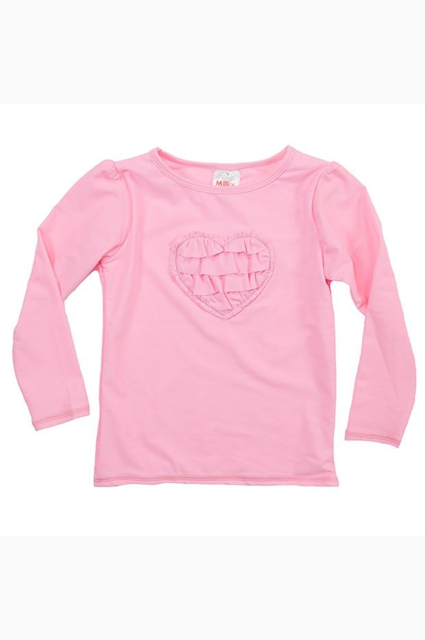 Milky Toddler Pink Heart Rashie - Milky Toddler Pink Heart Rashie with;  Super adorable pink heart with frill detail on chest Long sleeves and a high collar offers great protection from the sun Made from nylon fabric