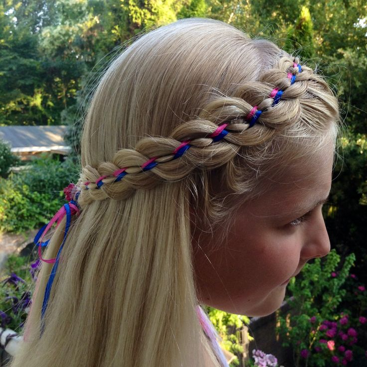 #7-strand #dutchbraid with #ribbon #headband made by vlecht IDee…