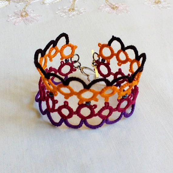 Tatted Lace Bracelet  Orange  Burgundy  Purple  Black  #tatting #tatsright #etsy #frivolite #chiacchierino