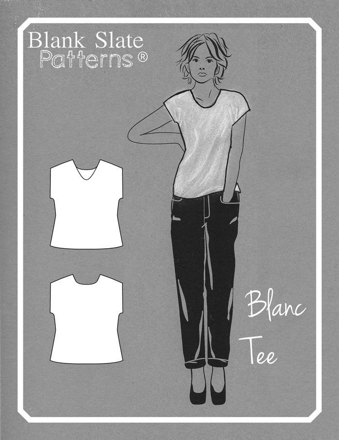 Line Drawing - Blanc T shirt sewing pattern by Blank Slate Patterns - FREE women's casual t shirt in sizes XXS-3X