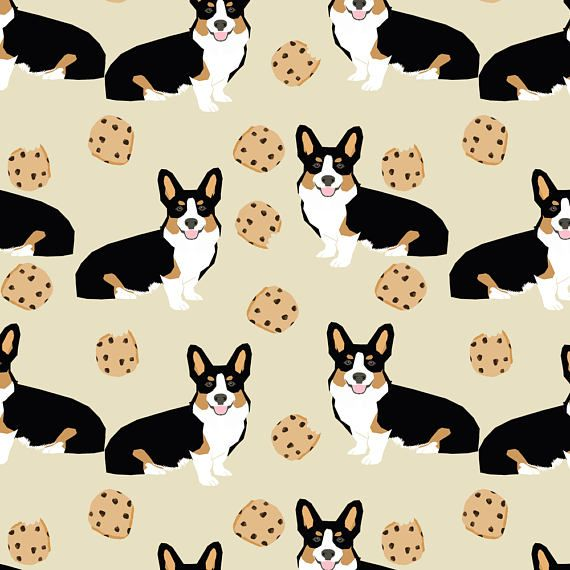 1 yard (or 1 fat quarter) of tricolored corgi dog fabric dogs and cookies design - neutral by designer petfriendly. Printed on Organic Cotton Knit, Linen Cotton Canvas, Organic Cotton Sateen, Kona Cotton, Basic Cotton Ultra, Cotton Poplin, Minky, Fleece, or Satin fabric.  Available in yards and quarter yards (fat quarter). This fabric is digitally printed on demand as orders are placed. Unlike conventional textile manufacturing, very little waste of fabric, ink, water or electricity is used…