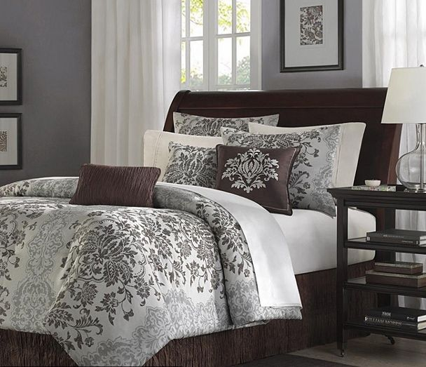 damask comforters king size | ... madison grey chocolate modern floral damask pattern luxury comforter