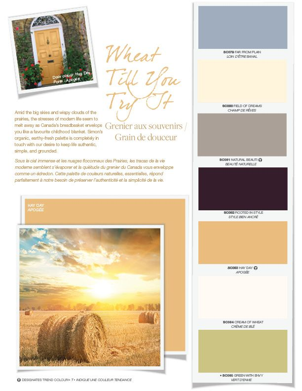 Amid the big skies and wispy clouds of the prairies, the stresses of modern life seem to melt away as Canada's breadbasket envelops you like a favourite childhood blanket.  Simon's organic, earthy-fresh palette is completely in touch with our desire to keep life authentic, simple, and grounded. #BeautiTone Paint exclusive colours.