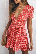 Garden Explorer Red Floral Print Mini Dress