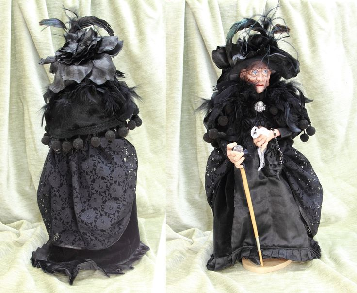 LADY in BLACK OOAK Doll, old woman handmade art doll, polymer clay sculpture, cellectible doll, home decor, old woman in mourning by LalkowniaDolls on Etsy