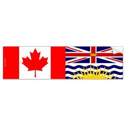 Canadian & British Columbia Flag Bumper Sticker - craft supplies diy custom design supply special