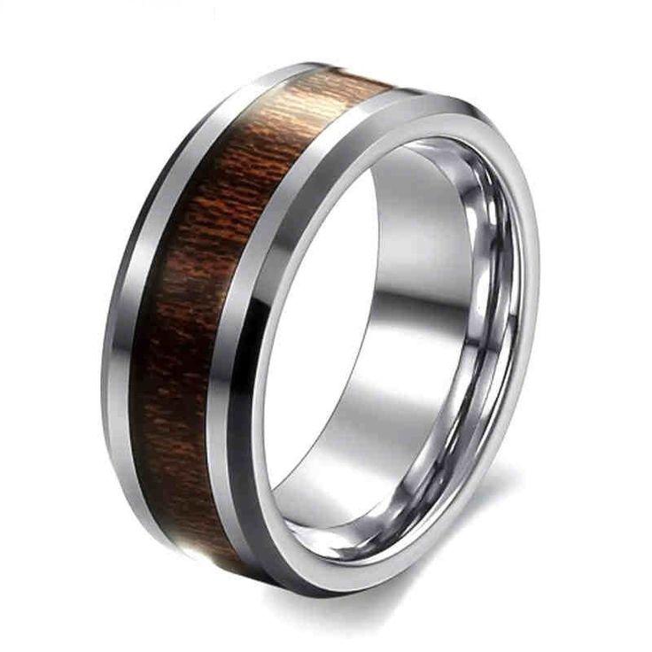 Classic Style 8mm Mens Ring Stainless Steel Ring Retro Dark Wood Grain Design Men Promise Ring for Party Gift