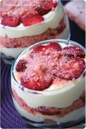 Tiramisu aux fraises & biscuits roses de Reims