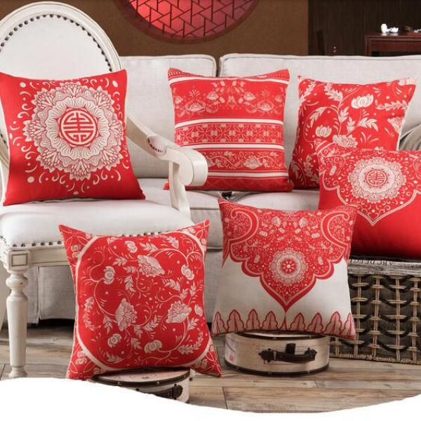 Chinese Style Red Flower Throw Pillow For Home Decoration Geometric Square  Cushions