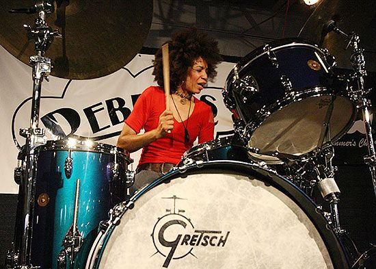 Cindy Blackman (aka Lenny Kravitz's bad-ass former drummer, and aka Mrs. Carlos Santana)