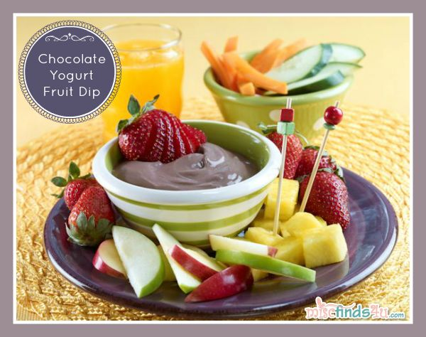 Recipes: Kid-Friendly Fresh Fruit and Chocolate Yogurt Dip Recipe. Quick and easy with just a few ingredients. Easy kid's cooking recipe.