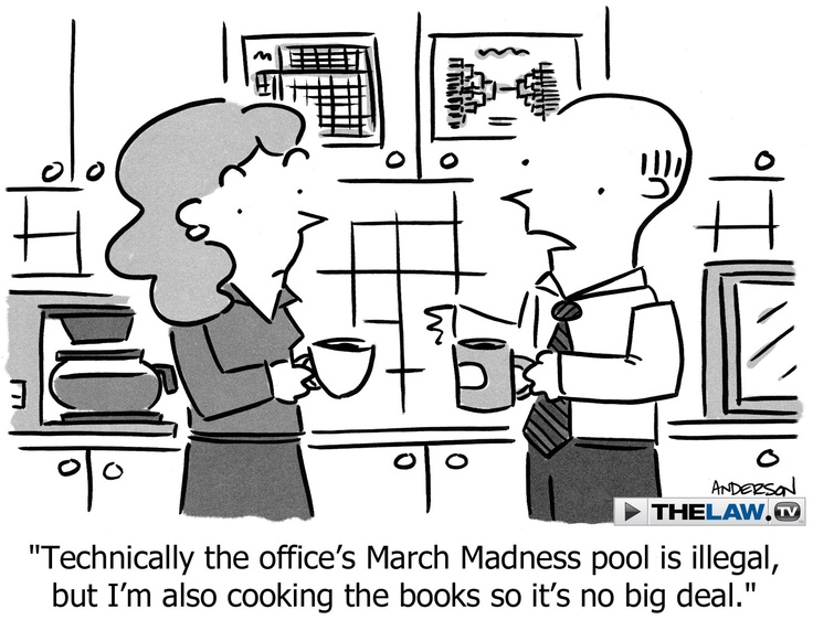 If you're one of those fans making a wager through an office pool, you might want to check with your HR department before you place your bets. While it's extremely unlikely that you could run into any legal problems for small office pools, your boss might still take issue.