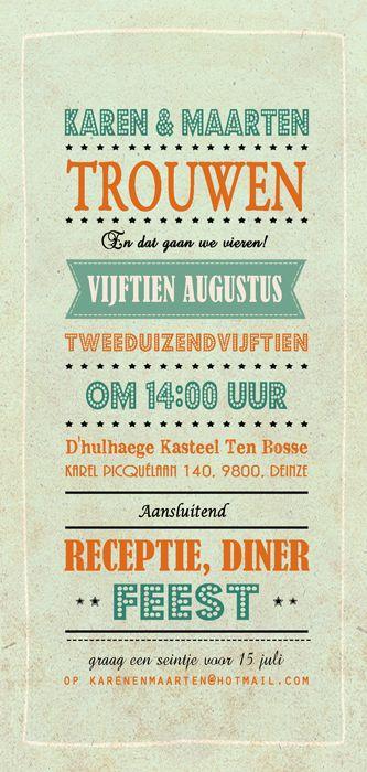 Huwelijk Karen en Maarten - trouwkaart - Pimpelpluis - https://www.facebook.com/pages/Pimpelpluis/188675421305550?ref=hl (# huwelijksuitnodiging - trouw - retro - banner - typografie - kaart - vintage - origineel)