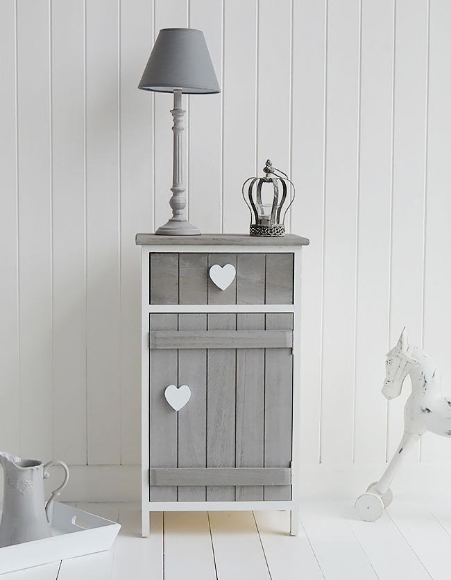 Grey and white Heart Cottage bedside cabinet with cupboard and drawer. Shabby chic bedroom furniture