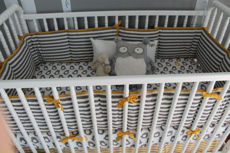 Gray and yellow crib bedding - #projectnursery