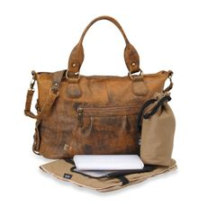 Now THIS is a diaper bag...OiOi® Distressed Leather Slouch Tote Diaper Bag - MfrID: 6474 from Buy Buy Baby