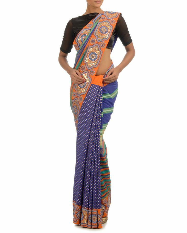 Blue-Orange Printed Sari #Psychedelic #Fashion #ManishArora #Sale #Discount #Love #Designer #Indian #Ethnic #Fusion #Digital #Printed