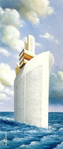 Evoluzione: dal foglio di giornale per costruire una barchetta di carta alle pagine dei libri per costruire un transatlantico... Re-pinned by: http://sunnydaypublishing.com
