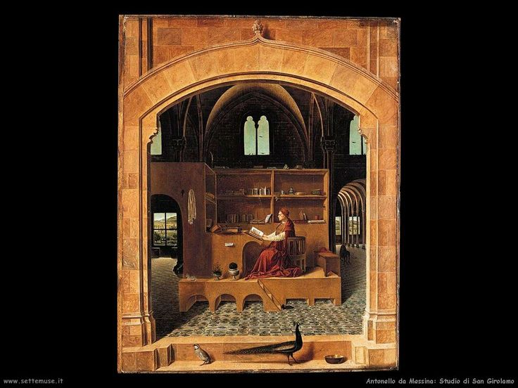 San Girolamo nello studio, Antonello da Messina (1474 circa) Rinnovato interesse per la pittura fiamminga, evidente nell'arcata aperta da cui ci affacciamo alla scena, nel naturalismo degli ucceli raffigurati in primo piano e nell'accurata rappresentazione dei libri e degli oggetti sulla libreria del santo. Perfetta COINCIDENZA TRA SPAZIO PROSPETTICO E LUCE (quest'ultima esalta lo spessore atmosferico dell'ambiente, misurando lo spazio)