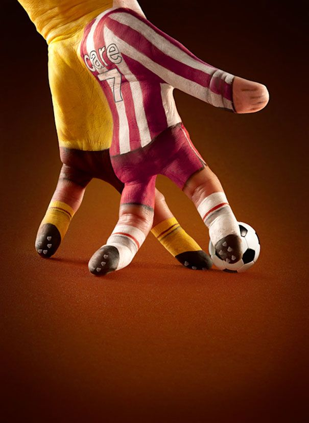 "London-based photographer Ray Massey teamed up with a talented body painter Annie Ralli to transform hands into architecture, sport scenes and other deceiving objects. These incredible hand illusions are a part of advertising campaign for Ecclesiastical Insurance, a niche insurance company using the byline ""You're in good hands""."
